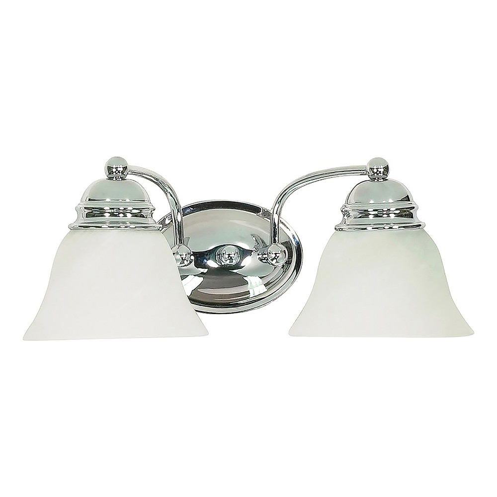 Image of 15 Vanity Wall Lights with Alabaster Glass Bell Shades (Set of 2) - Z-Lite, White
