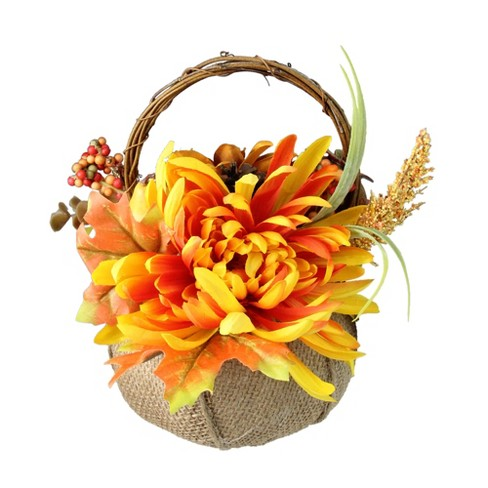 "Northlight 9.5"" Autumn Floral Filled Burlap Pumpkin Thanksgiving Basket - image 1 of 4"