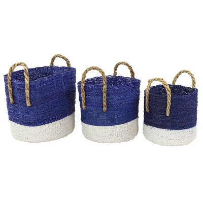 Olivia & May Set of 3 Large Round Block Color Seagrass Baskets Royal Blue/White
