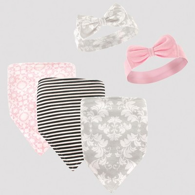 Hudson Baby Girls' 5pc Bandana Bib and Headband Set - Gray/Pink 0-12M