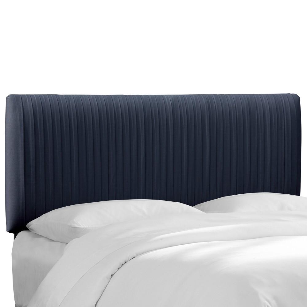 Full Skylar Upholstered Pleated Headboard Navy Velvet - Cloth & Co.