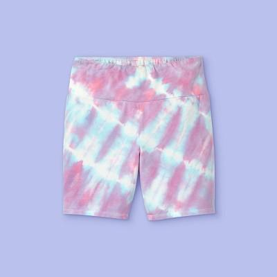 Girls' Tie-Dye Bike Shorts - More Than Magic™ Pink/Blue