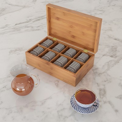 Bamboo Tea Box Storage Organizer- 8 Compartment Chest for 120+ Standing or Flat Tea Bags, Natural Wood Portable Kitchen Accessory by Hastings Home
