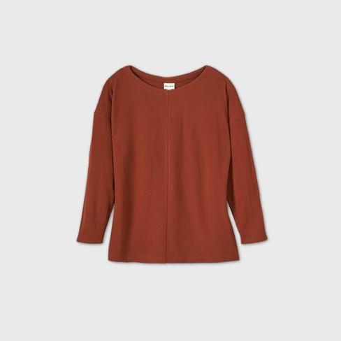 Women's Plus Size Long Sleeve Leisure T-Shirt - Ava & Viv™  - image 1 of 4