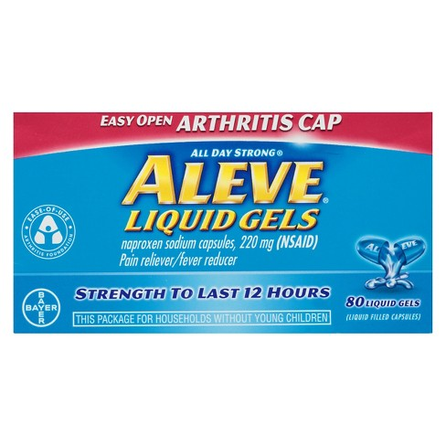 Aleve Easy Open Arthritis Cap Pain Reliever & Fever Reducer Tablets - Naproxen Sodium (NSAID) - 80ct - image 1 of 3