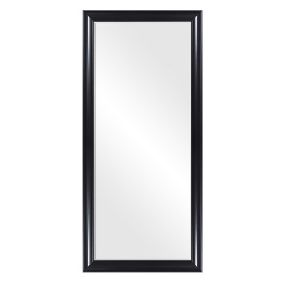 24 x58  Beveled Leaner in Classic Black Polywood Frame Floor Mirror Black - Patton Wall Decor
