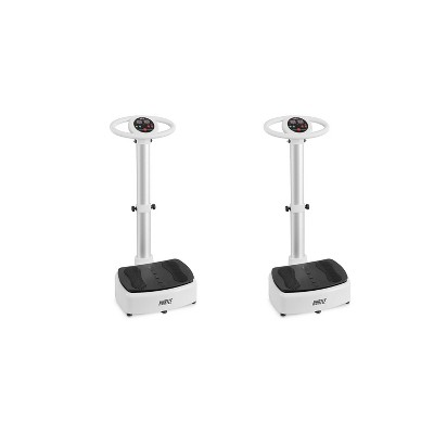 Hurtle HURVBTR63 Standing Oscillating Vibration Platform Full Body Exercise Machine Home Workout Trainer w/ Adjustable Settings, White (2 Pack)