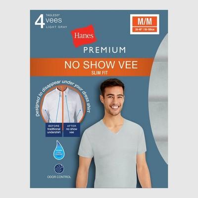 Hanes Premium Men's Slim Fit V-Neck T-Shirt Undershirt With Wicking FreshIQ