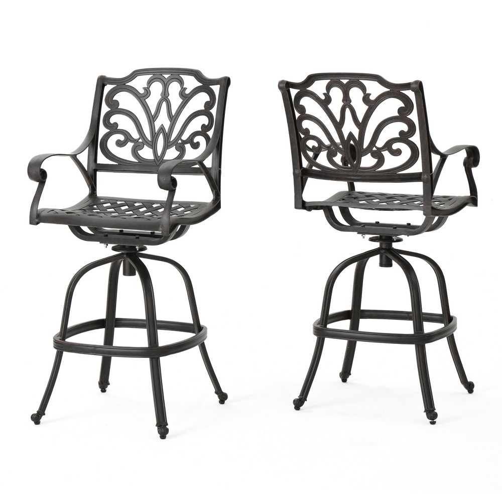 Alfresco Set of 2 Cast Aluminum Barstool - Bronze - Christopher Knight Home
