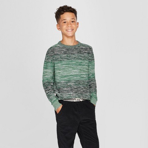 Boys' Long Sleeve Pullover Sweater - Cat and Jack™ Green - image 1 of 3