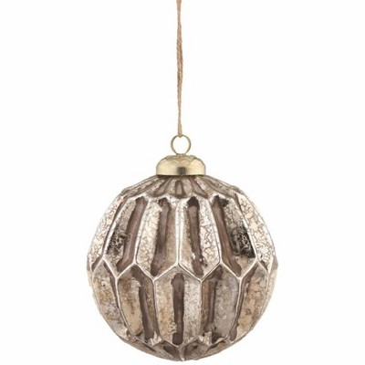 "Napa Home And Garden 3.75"" Weathered Mercury Glass Honeycomb Ball Christmas Ornament   Gold by Gold"