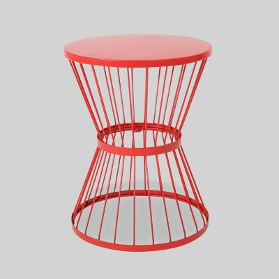 Wrought Iron Patio Side Table - Red - Christopher Knight Home