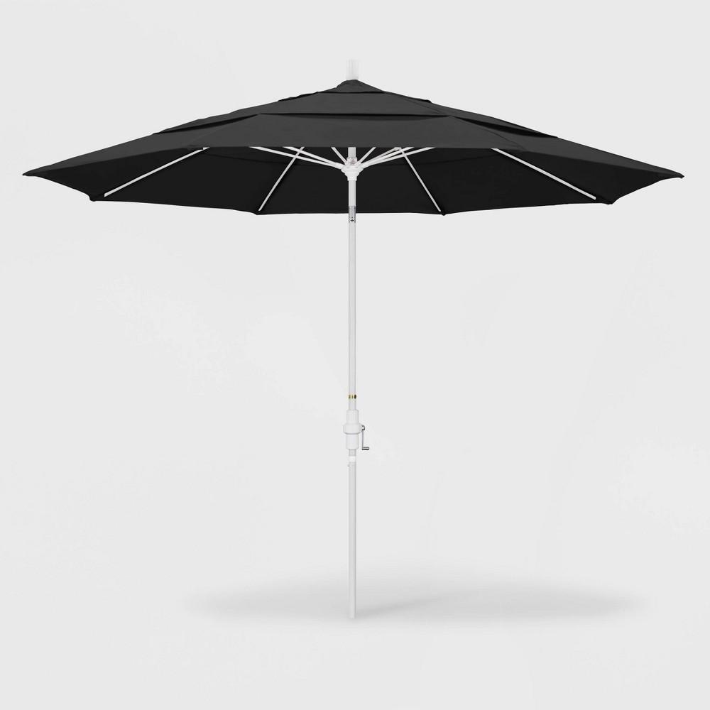 Image of 11' Sun Master Patio Umbrella Collar Tilt Crank Lift - Pacifica Black - California Umbrella