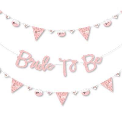 Big Dot of Happiness Bride Squad - Rose Gold Bridal Shower or Bachelorette Party Letter Banner Decor - 36 Banner Cutouts & Bride to Be Banner Letters
