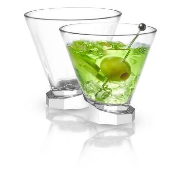JoyJolt Aqua Vitae Octagon Martini Glass-Set of 2 Crystal Stemless Glasses with Off Set Base-7.2 oz