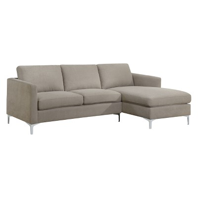 Iohomes Hefley Contemporary Fabric Sectional Sofa Warm Gray - HOMES: Inside + Out