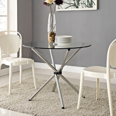 Baton Round Dining Table Clear Modway