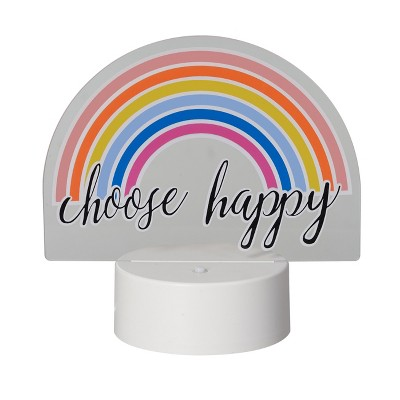 LED Lit Acrylic Sign Choose Happy Rainbow Novelty Sculpture Lights White - Room Essentials™