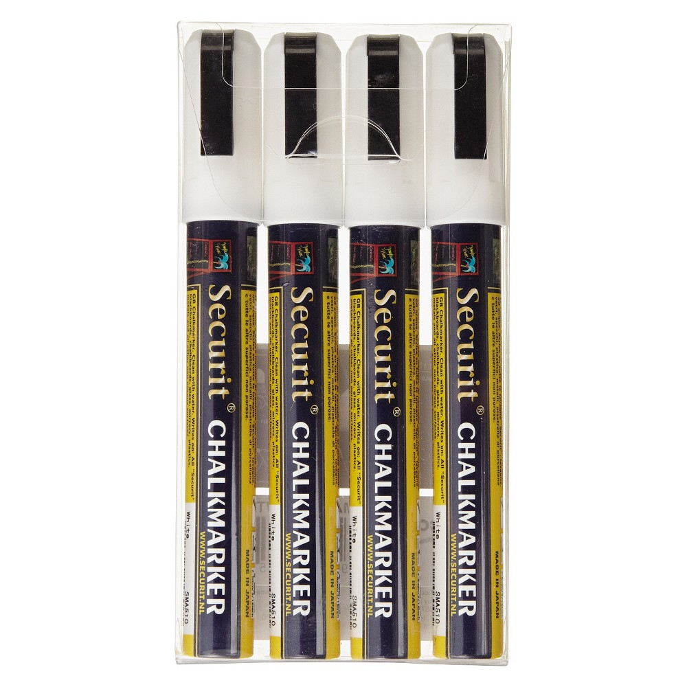 SecurIT Liquid Chalk Marker, Chisel, White, 4/Pk, White/Gold/Black