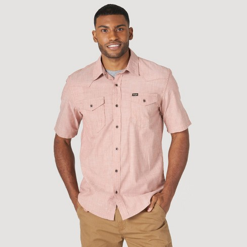 Wrangler Men's Short Sleeve Button-Down Shirt - Brown S