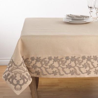 Khaki Swirl Tablecloth - Saro Lifestyle