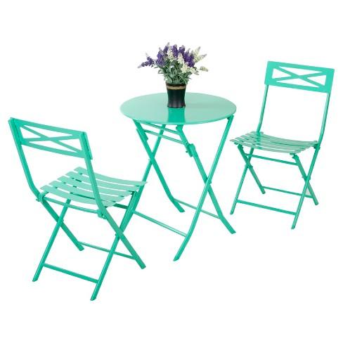 3pc Metal Patio Folding Bistro Set Turquoise Captiva Design