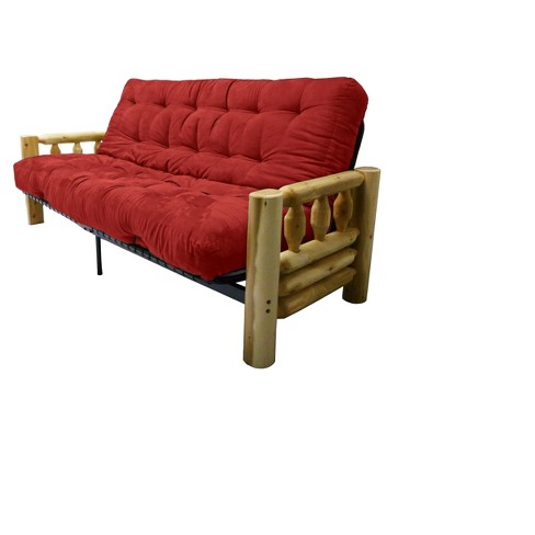 Lodge 8 Inner Spring Futon Sofa Sleeper Cardinal Queen Size Sit N Sleep