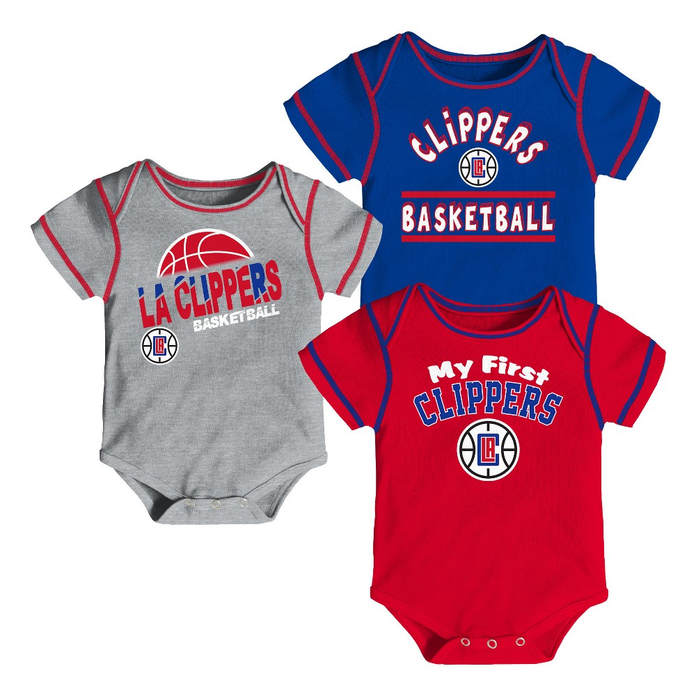Los Angeles Clippers Boys' Rookie 3pk Body Suit Set 0-3M, Multicolored