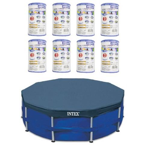 Intex Pool Easy-Set Replacement Filter Cartridge (8 Pack) w/ Intex Pool Cover - image 1 of 4