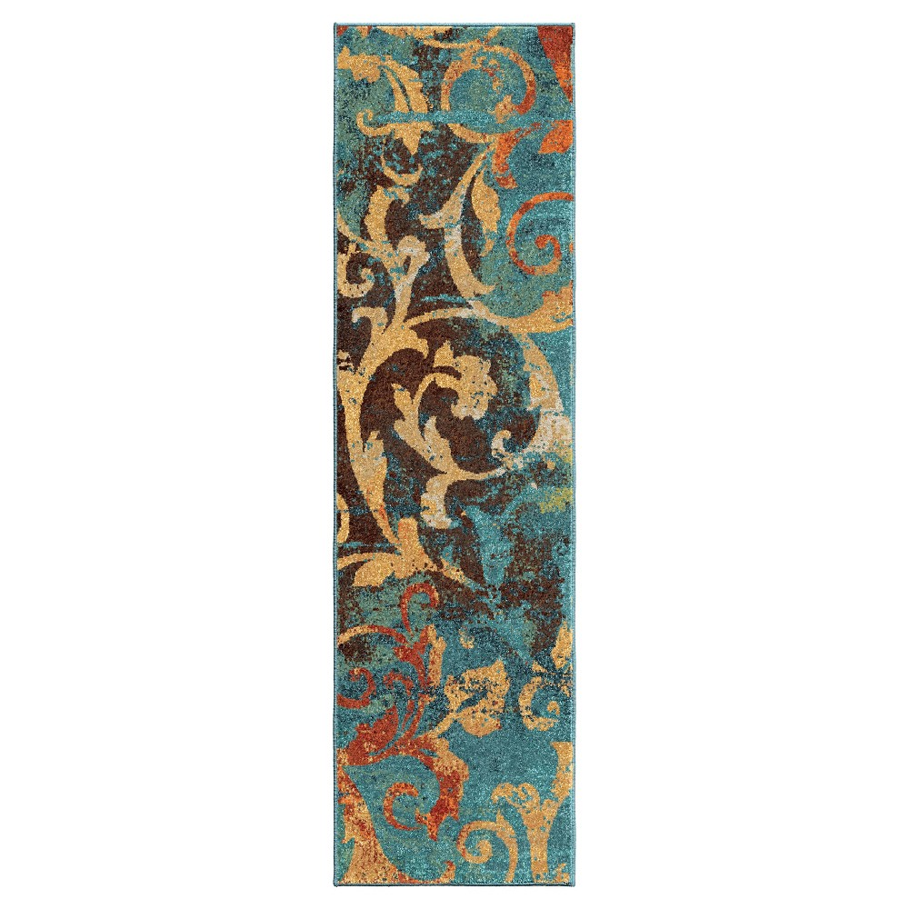 Image of Abstract Woven Runner - (2'3x8') - Orian, Multicolored