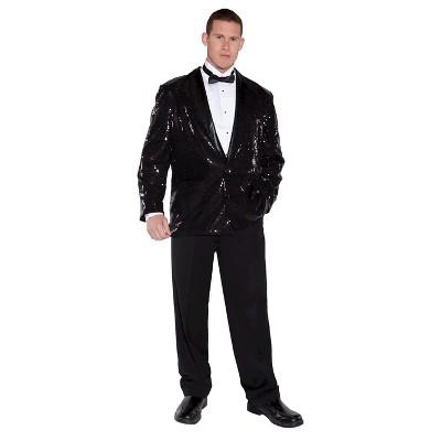 Adult Sequin Jacket Halloween Costume Black XXL