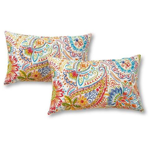 Set Of 2 Jamboree Paisley Outdoor Rectangle Throw Pillows Kensington Garden Target