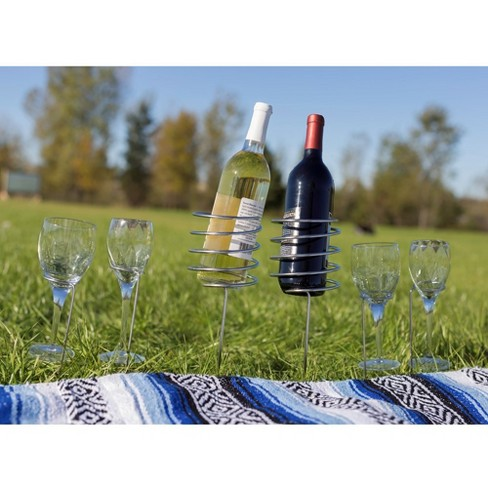 Stainless Steel 4 pc Outdoor Wine Bottle and Stemware Stakes - Sunnydaze Decor - image 1 of 2
