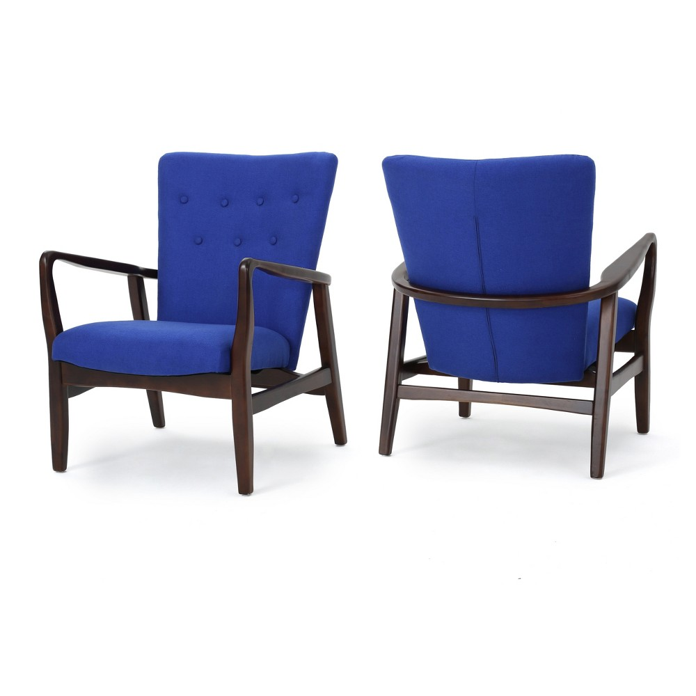 Becker Upholstered Arm Chair (Set of 2) - Navy (Blue) - Christopher Knight Home