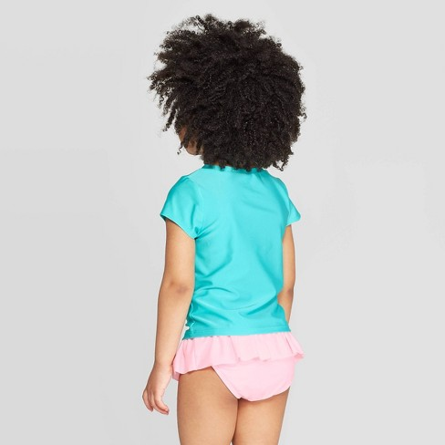 28477b5117a74 Toddler Girls' Short Sleeve Pool Party Rash Guard Set - Cat & Jack™ Aqua