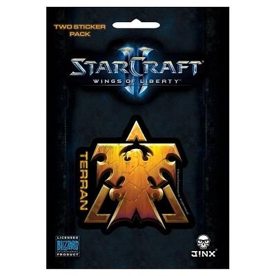 JINX Inc. StarCraft II: Wings of Liberty Multi-size Sticker 2-Pack: Terran, Gold