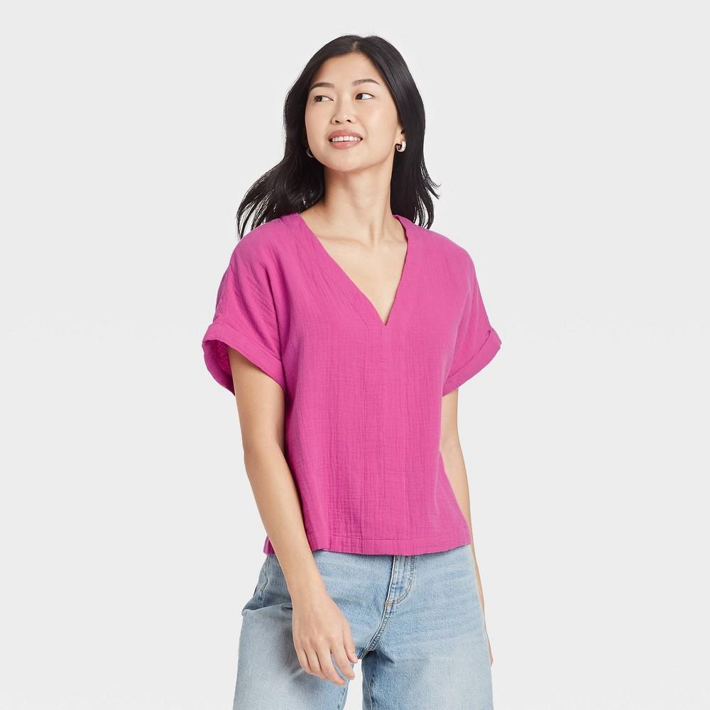Women 39 S Short Sleeve Blouse Universal Thread 8482 Pink M
