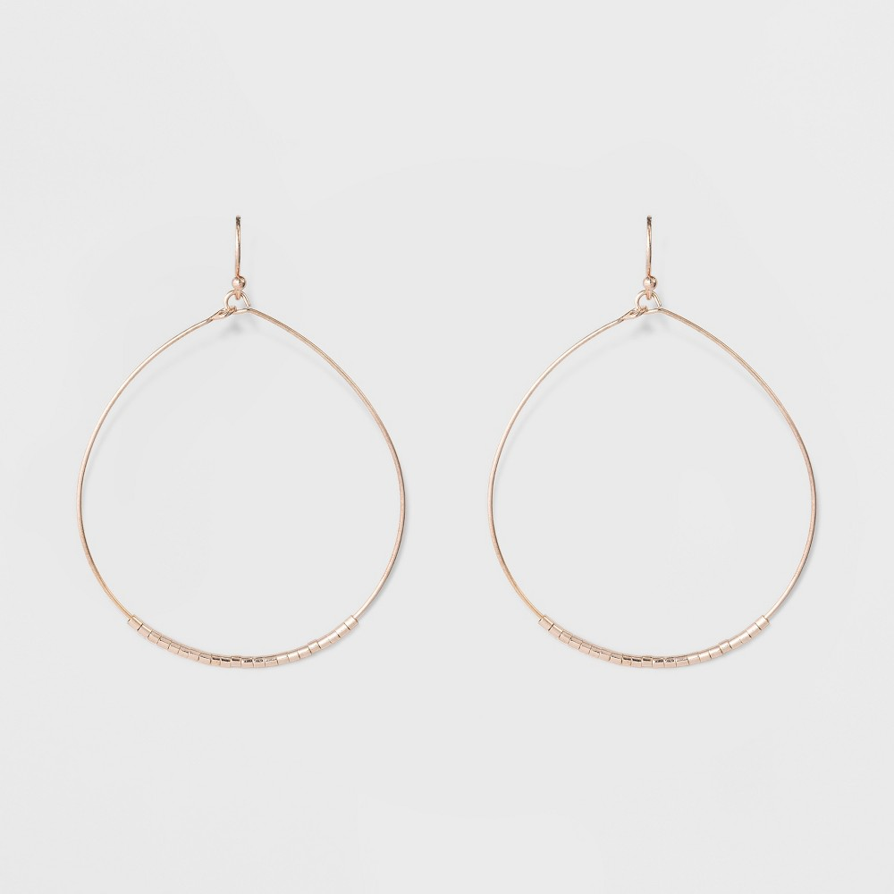 Women's Wire Earrings with Hoop - Rose Gold, Size: Small