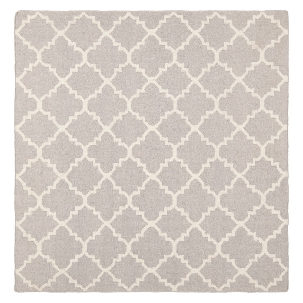 8'X8' Quatrefoil Design Square Area Rug Gray/Ivory - Safavieh