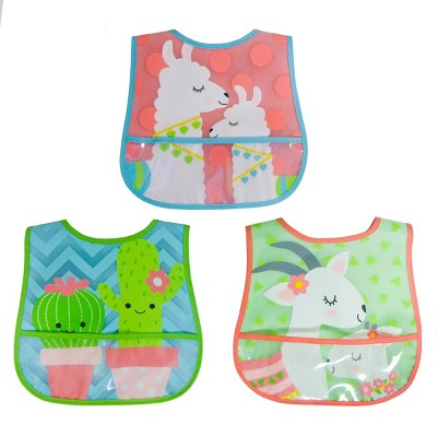 Neat Solutions Girl Printed Translucent Peva/Knit Terry Bib Set - Llama-Cactus-Goat - 3pk