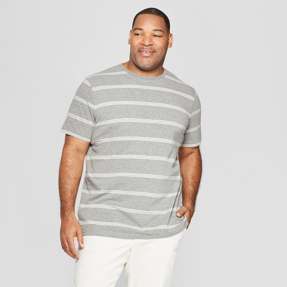 Mens Big Tall Striped Standard Fit Short Sleeve Novelty Crew