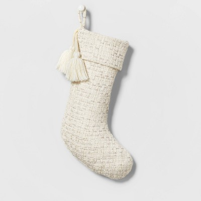 Woven Christmas Stocking with Lurex and Tassels Neutral - Wondershop™