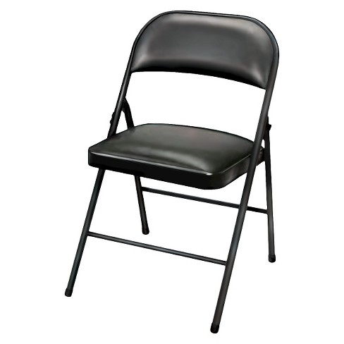 Folding Chair Vinyl Padded Black - Plastic Dev Group - image 1 of 4