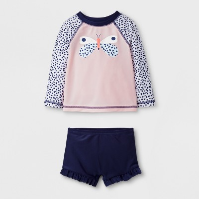 Baby Girls' Butterfly Long Sleeve Rash Guard Set - Cat & Jack™ Pink 18M