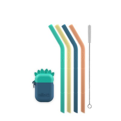 Ello 6pc Silicone Kids' Fold and Store Straw Set