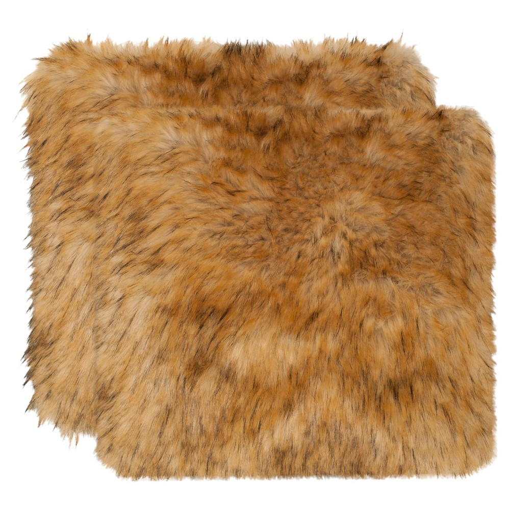 Brown Raccoon Faux Fur Throw Pillow - Safavieh, Brown (Long)