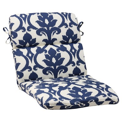 Outdoor Rounded Chair Cushion - Blue/White Damask