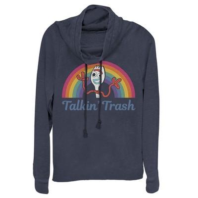 Junior's Toy Story Forky Talkin' Trash Rainbow Cowl Neck Sweatshirt
