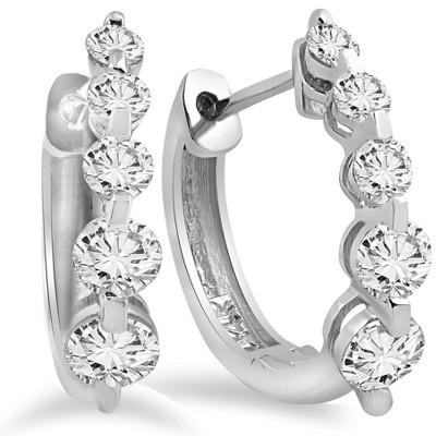 Pompeii3 1ct Diamond Hoop Earrings 14K White Gold