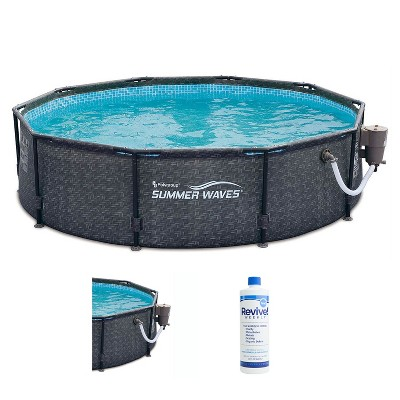 Summer Waves P20010301 Active 10ft x 30in Outdoor Round Frame Above Ground Swimming Pool Set with 120V Filter Pump & Treatment Cleaner, Gray Wicker